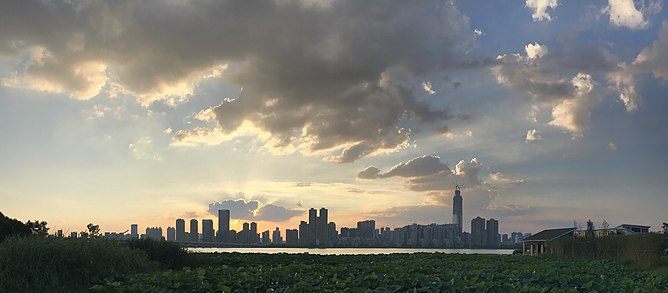 A morning view of Wuhan from the East Lake Greenway, an ecologic preserve near the Wuhan University for all the people in Wuhan Skyline of Wuhan-2.jpg