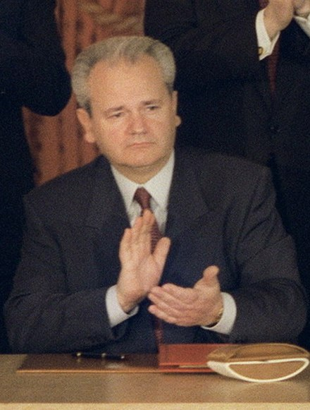 Serbian President Slobodan Milosevic wanted to retain Serb-claimed lands in Croatia within a common state with Serbia. Slobodan Milosevic Dayton Agreement.jpg
