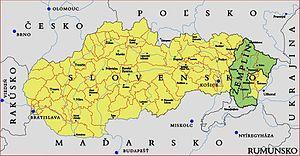 Zemplín (region) - Location of Zemplín within Slovakia