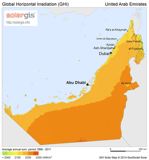 Solar power in the United Arab Emirates - Solar potential in the UAE