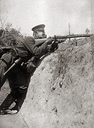 Battle of the Crna Bend (1917) - Bulgarian soldier firing his rifle from a trench