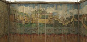 Sukkah - 19th century sukkah from Austria with a painting of Jerusalem - Musée d'Art et d'Histoire du Judaïsme