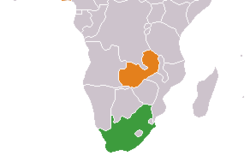 Map indicating locations of South Africa and  Zambia