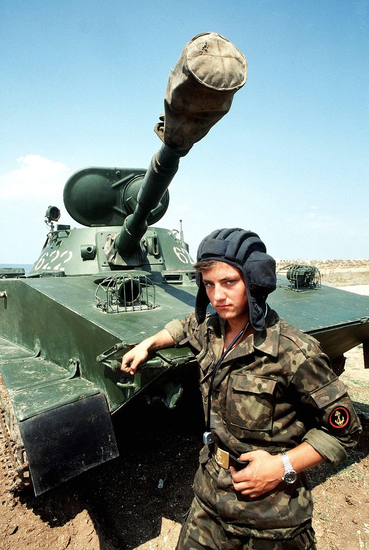 Soviet naval infantrymen and PT-76 DN-ST-90-00772