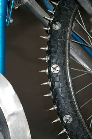 Ice racing - Close-up of a studded tire
