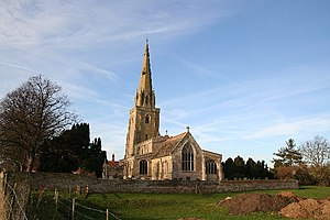 2008 England earthquake - The spire of St Andrew's church in Haconby was damaged