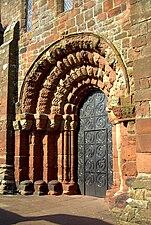 St Bees Priory westdoor evening sun