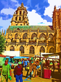 St Germain church and weekly market.png