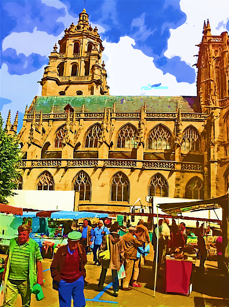 St Germain church and weekly market