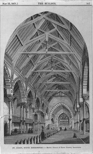 St Jude's Church, Kensington - Nave, as built, 1871, featured in The Builder