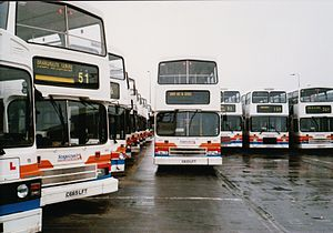 Stagecoach in Hull - Fleet in original Stagecoach livery in 2001