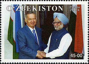 Islam Karimov - A 2006 Uzbek stamp featuring Karimov and Indian prime minister Manmohan Singh