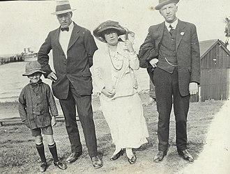 Bucket hat - Australian boy wearing tweed bucket hat, 1917.