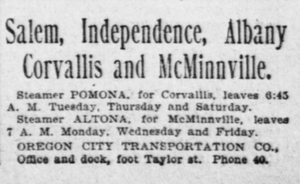 Altona (sternwheeler) - Advertisement placed January 6, 1902 for steamer service to points on the Willamette and Yamhill rivers, including McMinnville, which would have required use of the Yamhill lock.