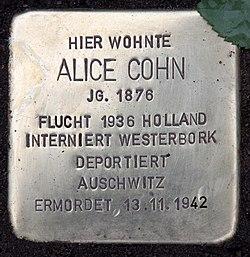 Photo of Alice Cohn brass plaque