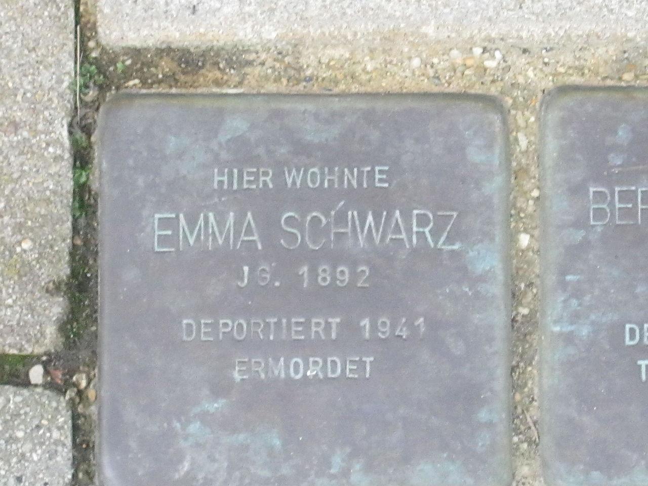 Stolperstein für Emma Schwarz