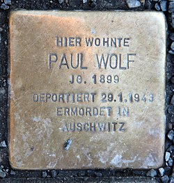 Photo of Paul Wolf brass plaque