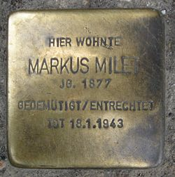 Photo of Markus Milet brass plaque