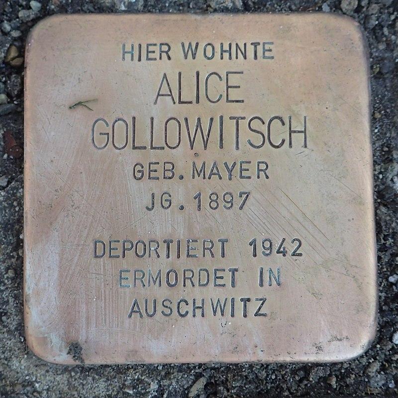 Stolperstein Leutkirch Karlstraße 12 Alice Gollowitsch