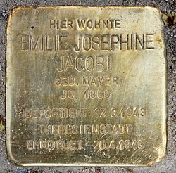 Photo of Emilie Josephine Jacobi brass plaque