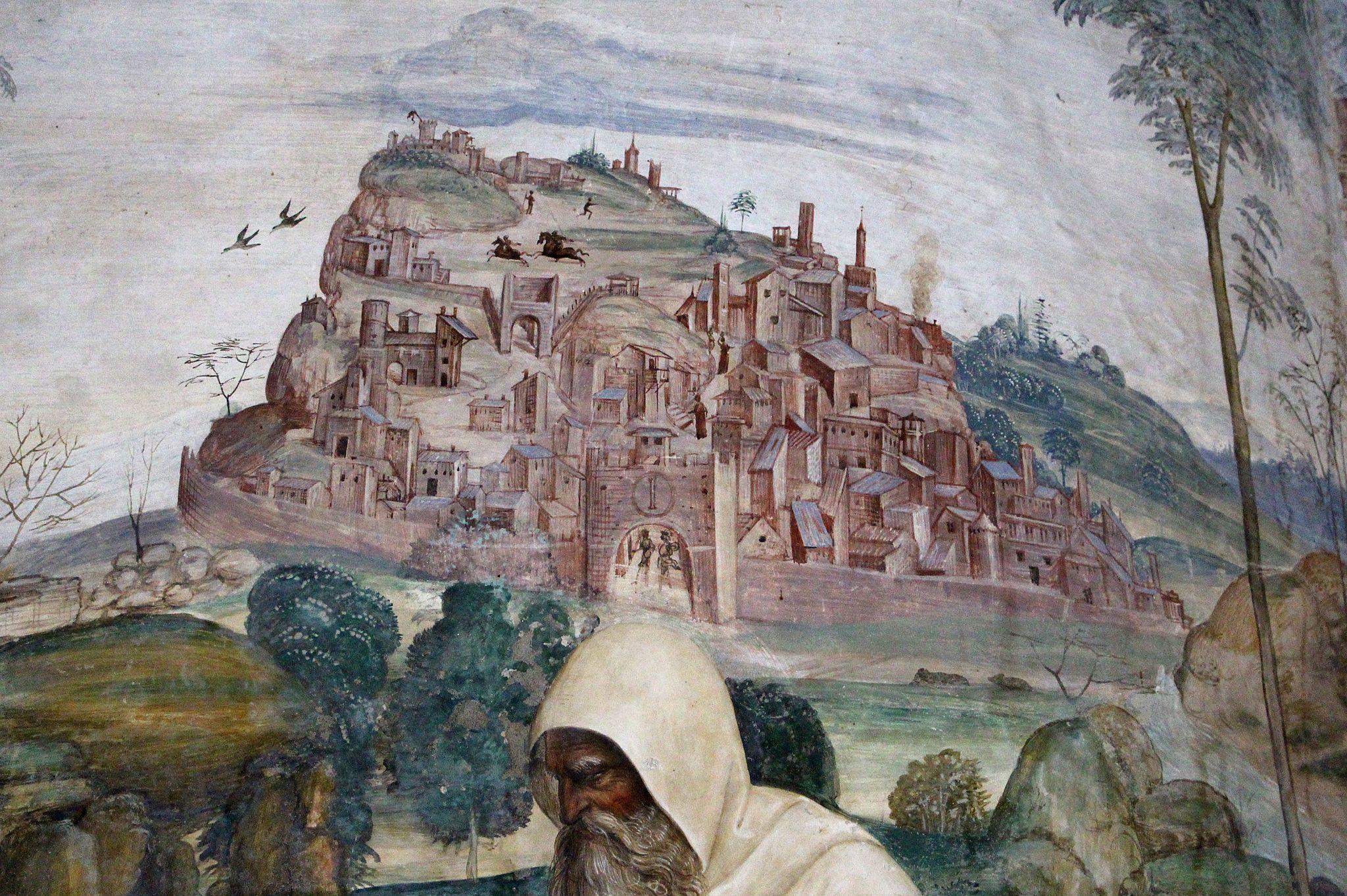 Storie di s. benedetto, 04 sodoma - Come Romano monaco da lo abito eremitico a Benedetto 03
