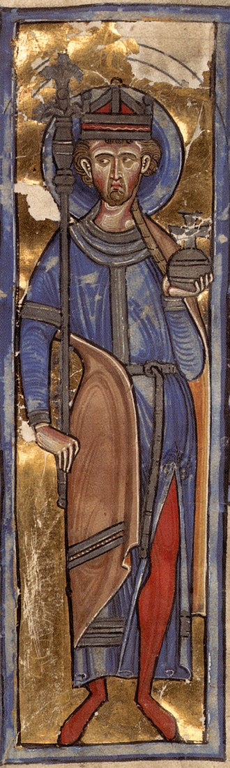 Oswald of Northumbria - Oswald crowned as a king from a 13th-century manuscript