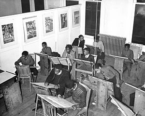 Harlem Community Art Center - Students at the Harlem Community Art Center (January 1, 1938)