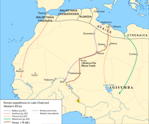 Romans in Sub-Saharan Africa - Map showing the Festus expedition, during Roman explorations of Sub-Saharan Africa