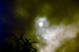 The sun seen through stratus clouds. Taken wit...
