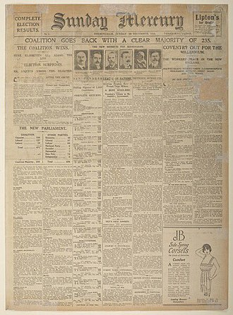 Sunday Mercury - Cover of the first edition, 29 December 1918