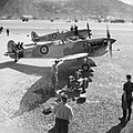 Supermarine Spitfire Mark Vs assembled by the Special Erection Party in Gibraltar for Operation Torch, 1942.jpg