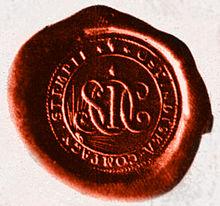 Svenska Ostindiska Compagniets lilla SIGILL från sista oktrojen 1806-1813.jpg