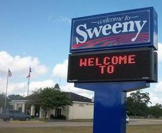 Sweeny, Texas - Welcome sign in front of City Hall