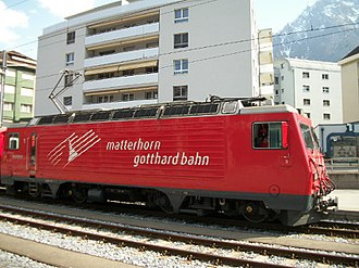 Train - Swiss Electric locomotive at Brig, Switzerland