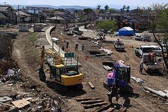 Tōna Station - Tōna Station in May 2011 after tsunami damage