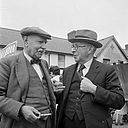 T. E. Nicholas and D. J. Williams conversing at a CND rally at Aberystwyth (6773943208).jpg