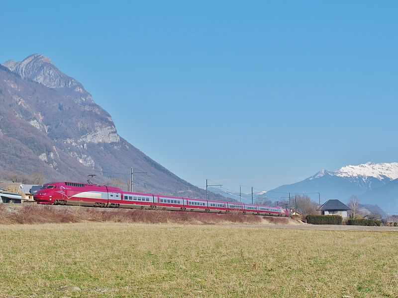 Sight of a Thalys TGV on winter service in the French Alps. Coming from Amsterdam (The Netherlands) and Brussels (Belgium), it is moving towards Albertville and Bourg-Saint-Maurice, in Savoie.