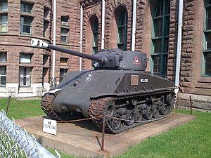 "Halifax Armoury - M4A3E8(76)W ""Easy Eight"" outside the Halifax Armoury"
