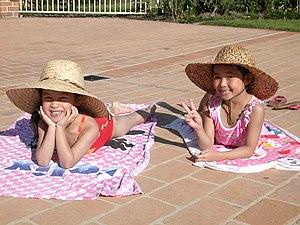 Tanning little girls in Taiwan.