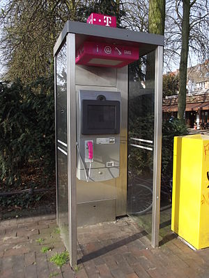 Telephone booth - Telephone booth with internet access in Münster, Germany. March 2014