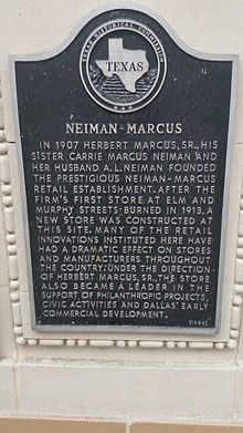 Superior Texas Historical Marker For Neiman Marcus