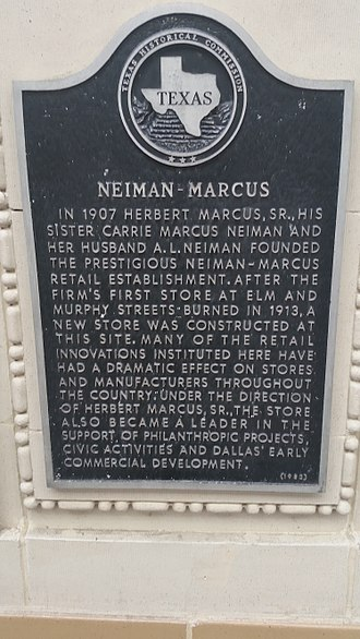Neiman Marcus Building - Texas historical marker for Neiman Marcus