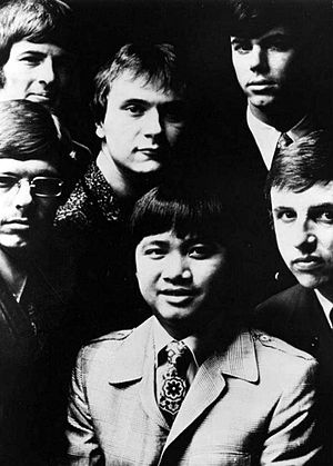 Larry Ramos - Larry Ramos, with the musical group, The Association, in 1968 Top row, from left: Jim Yester, Brian Cole, Ted Bluechel; bottom row, from left: Russ Giguere, Larry Ramos, Terry Kirkman