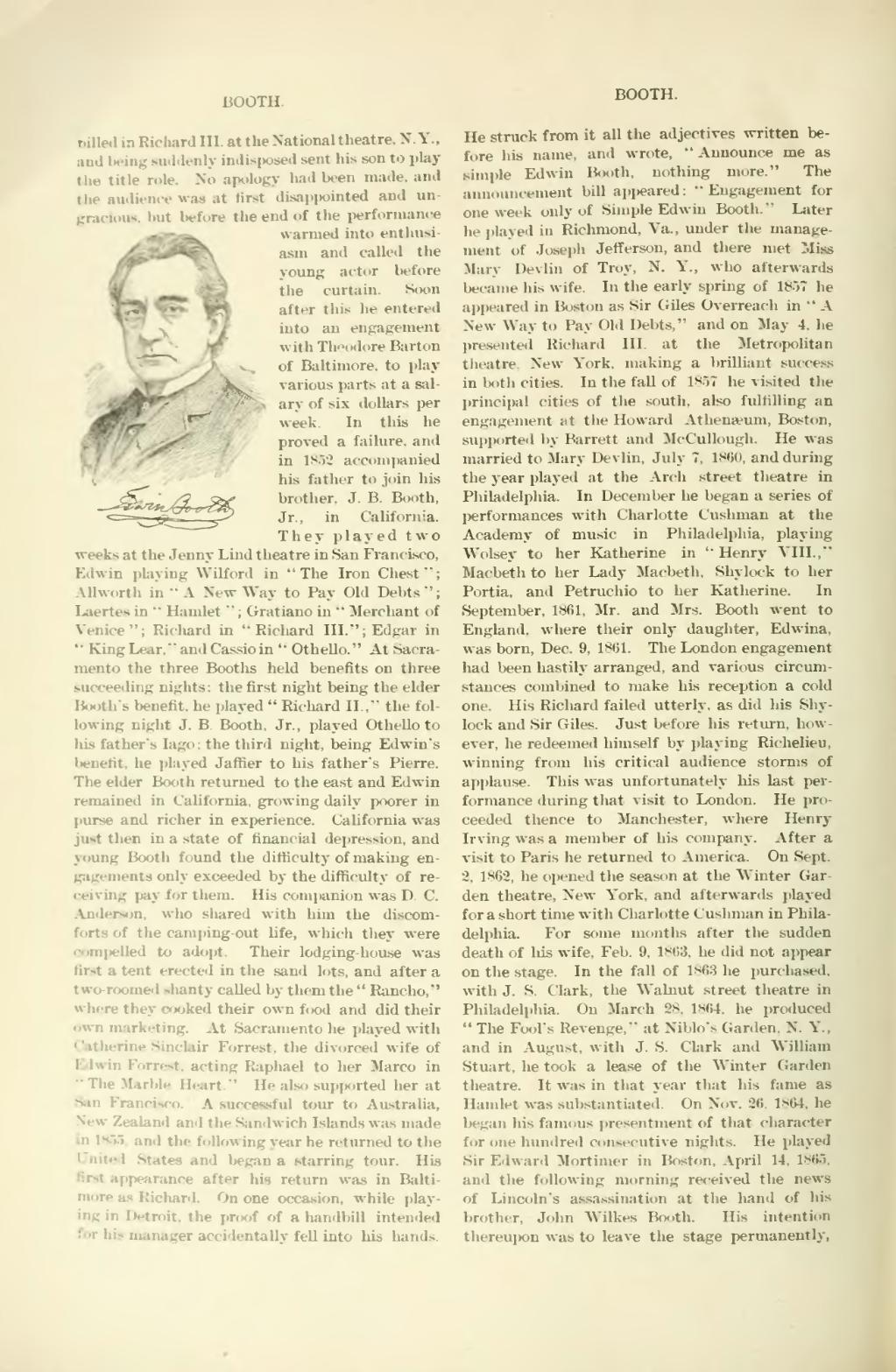 EDWIN BOOTH ACTOR SHYLOCK MACBETH HAMLET THEATRE