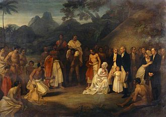 The Cession of the District of Matavai in the Island of Otaheite to Captain James Wilson for the use of the Missionaries Sent Thither by that Society in the Ship Duff, by Robert Smirke.jpg