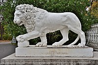 The Elagin Palace. Lion sculpture at the front entrance.jpg