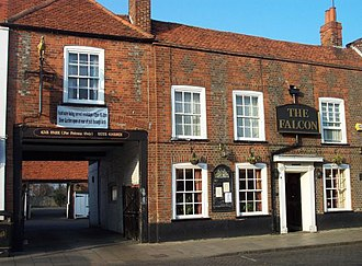 Theale - The Falcon, a 16th century coaching inn behind an 18th century frontage.