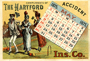 The Hartford - 1875 postcard calendar for the Hartford Accident Insurance Co.