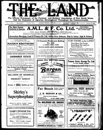 The Land (newspaper) - The front page of The Land on 27 January 1911.