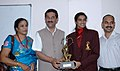 The Minister of State (Independent Charge) for Youth Affairs & Sports, Shri Jitendra Singh presenting the Arjuna Award 2013 to Ms. P.V. Sindhu, Badminton player, in New Delhi on September 24, 2013.jpg